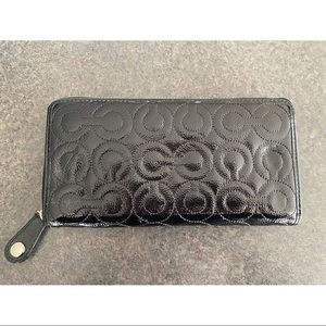 "Coach Shiny Patent ""C"" Continental Wallet"
